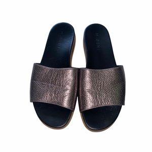 M. Gemi Metallic Sandals Slip On Size 9